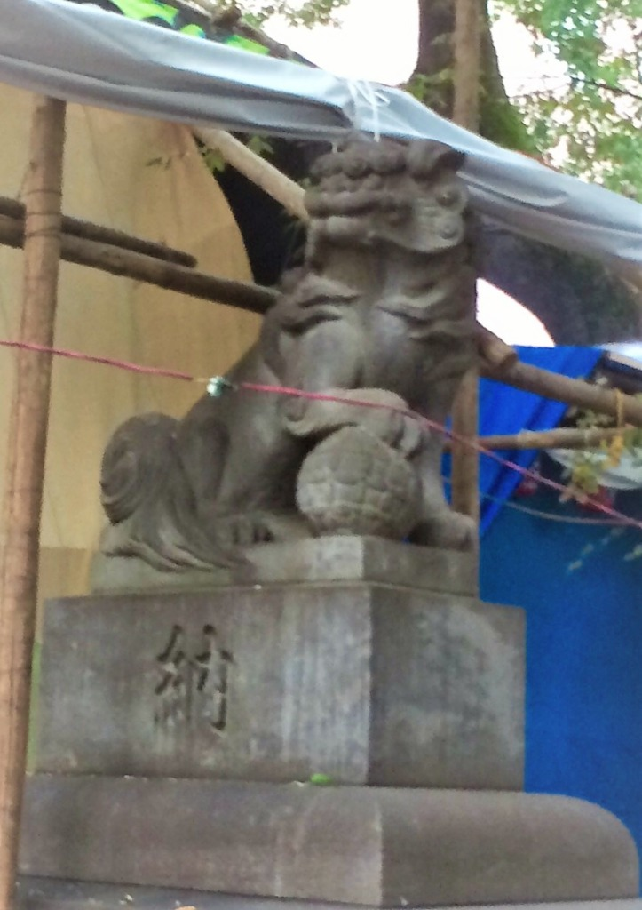 花園神社狛犬左