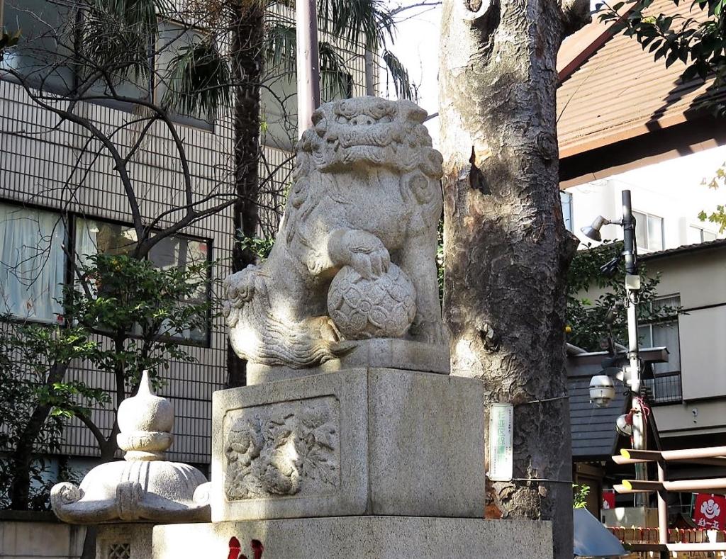 高円寺氷川神社狛犬左